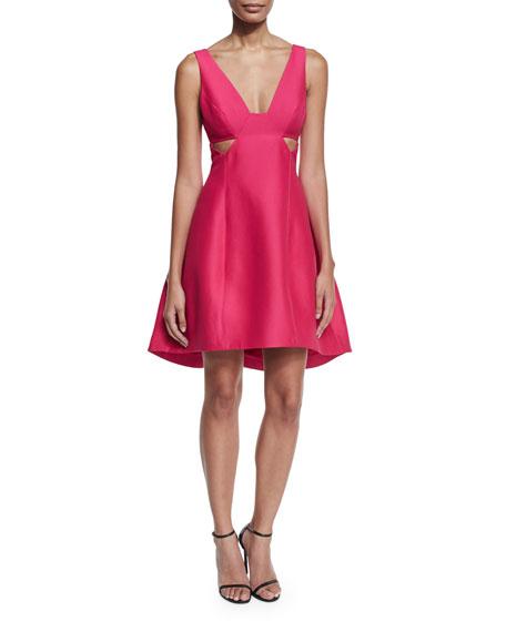 Sleeveless Cutout Faille Cocktail Dress, Cerise