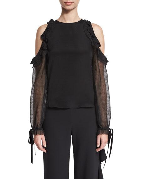 Fernand Ruffle-Trim Cold-Shoulder Top, Black
