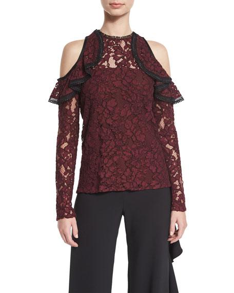 Millie Lace Cold-Shoulder Top, Burgundy