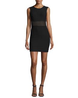 Jackie Sleeveless Ponte Mesh-Trim Mini Dress, Black