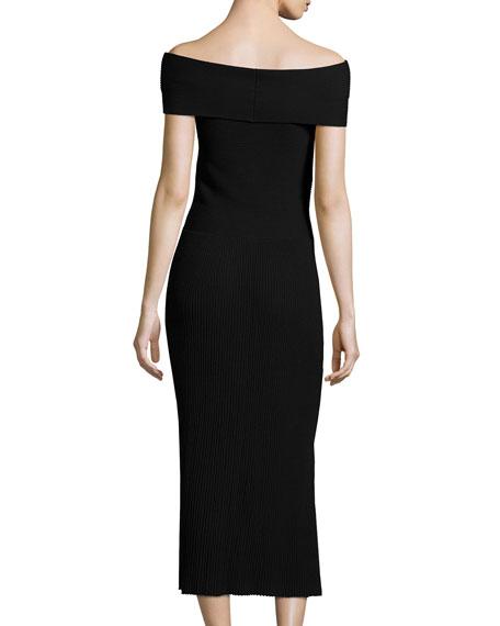Marbella Off-the-Shoulder Ribbed Midi Dress, Black
