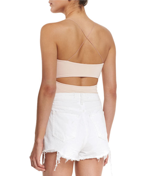 Strappy Stretch Jersey Tank, Blush