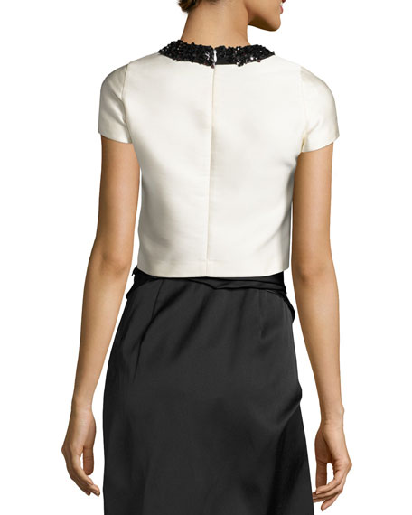 Cap-Sleeve Satin Overlay Cropped Top, Ivory