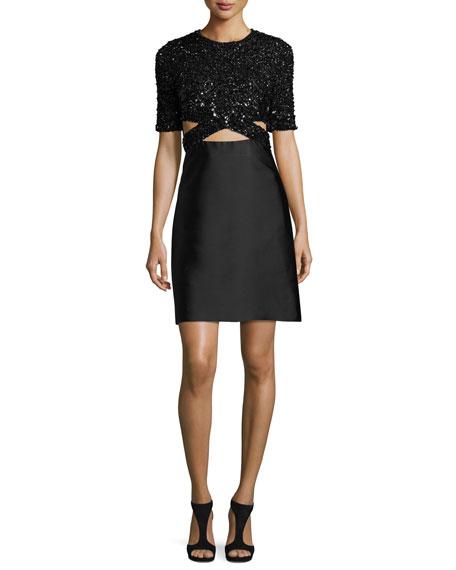 Short-Sleeve Embellished A-Line Dress, Black