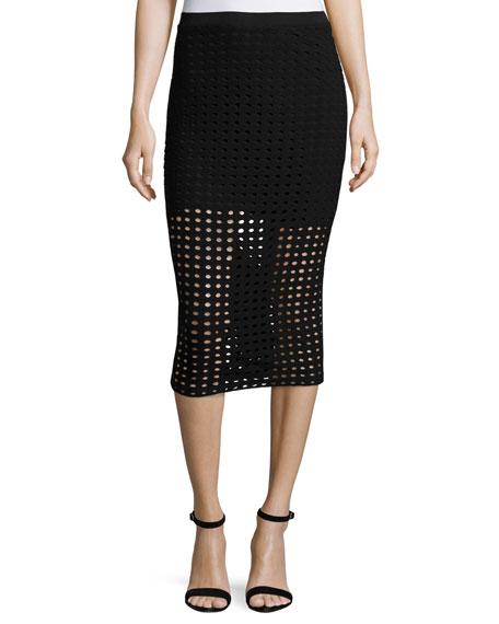Jacquard Eyelet Midi Skirt, Black