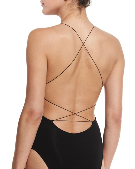 Sleeveless Cross-Back Jersey Bodysuit, Black