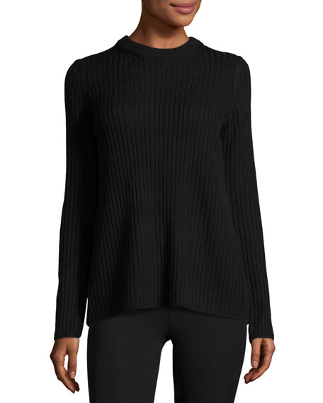 Carly Ribbed Split-Back Pullover, Black