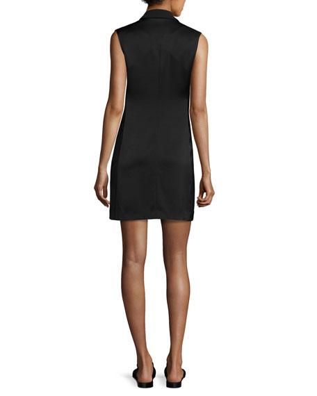 Adler Sleeveless Double-Breasted Crepe Mini Dress, Black