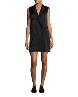 Adler Sleeveless Double-Breasted Crepe Mini Dress, Black