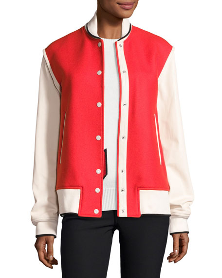 Edith Wool-Blend Colorblock Varsity Jacket, Red/Ivory