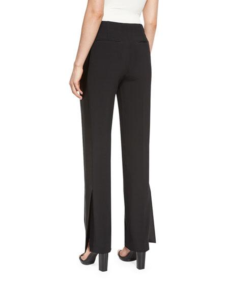 Abel Slit-Cuff Straight-Leg Pants, Black