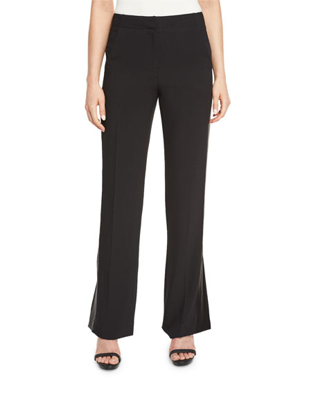 Abel Slit-Cuff Straight-Leg Pants, Black