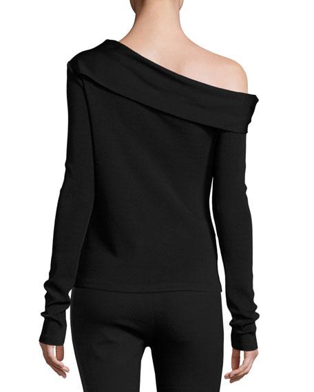 Carmen Long-Sleeve Asymmetric Jersey Top, Black