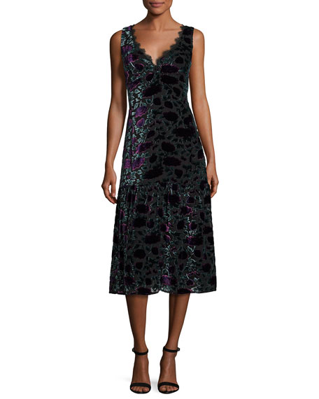 Sleeveless Floral Velour Midi Dress, Eggplant