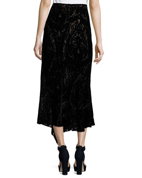Velvet Paisley Midi Skirt, Black