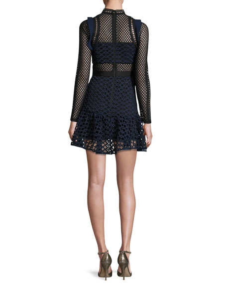 Hall Geometric-Lace Mini Dress