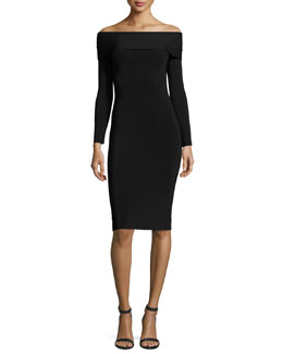 Long-Sleeve Off-the-Shoulder Fitted Ponte Dress, Black