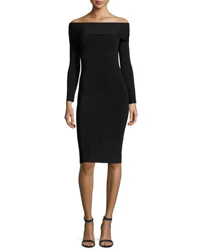 Long-Sleeve Off-the-Shoulder Fitted Ponte Dress, Black
