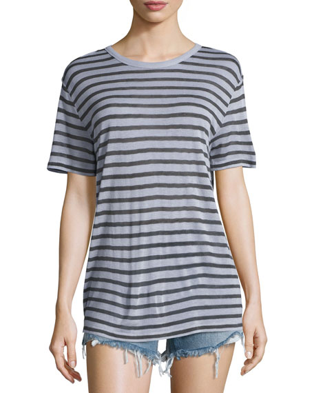 Short-Sleeve Striped Jersey Tee, Lavender/Charcoal