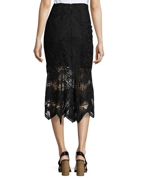 Lace Midi Pencil Skirt, Black