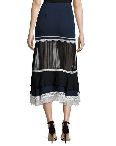 Tiered Fringe Silk Midi Skirt