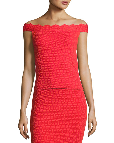 Diamond-Textured Off-the-Shoulder Top, Red