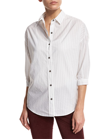 Poets 3/4-Sleeve Shirt, Ink Stripe