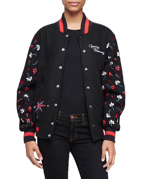 Embroidered Varsity Jacket, Black