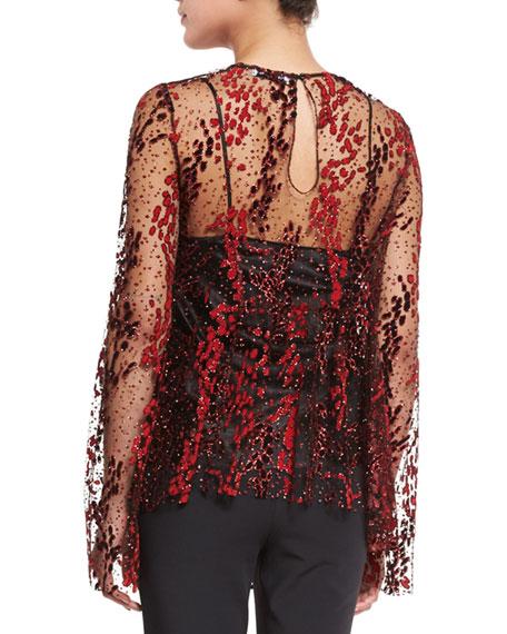 Long-Sleeve Enamel Glitter Sheer Top, Blaze Red