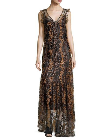 Sleeveless Enamel Glitter Maxi Dress, Bronze
