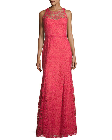Sleeveless Beaded Lace Illusion Gown, Sienna