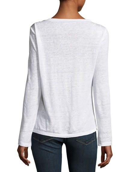 Pintuck Long-Sleeve Linen Tee, Blanc