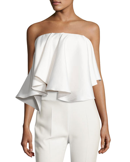Laurel Strapless Satin Twill Top, White