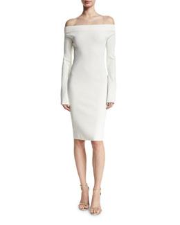 Lea Off-the-Shoulder Sheath Dress, White