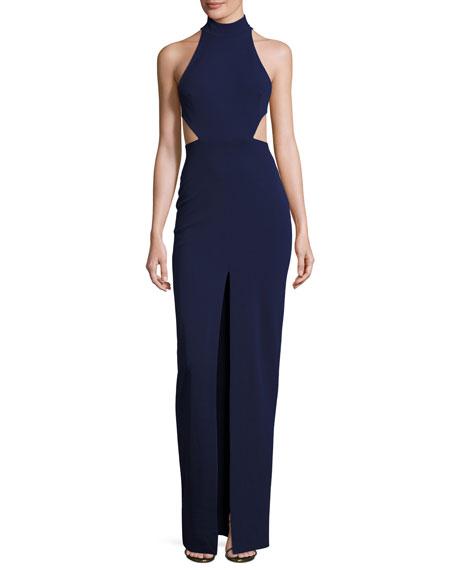 Piper Sleeveless Cross-Back Maxi Dress, Navy