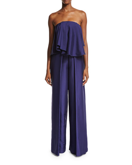 Mallory Strapless Satin Twill Jumpsuit, Navy