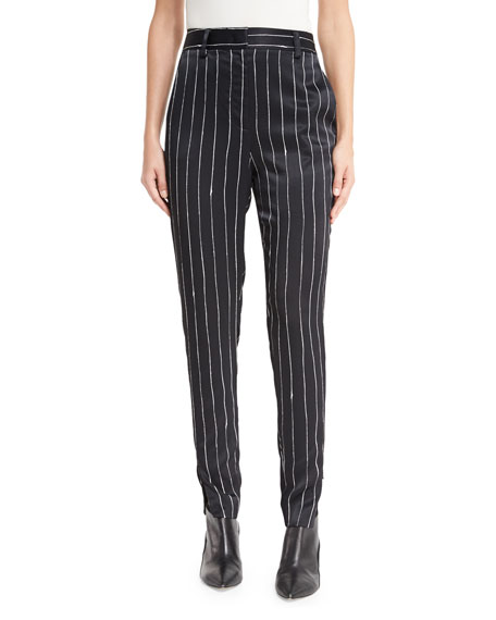 Tailored Striped Satin Pants, Black