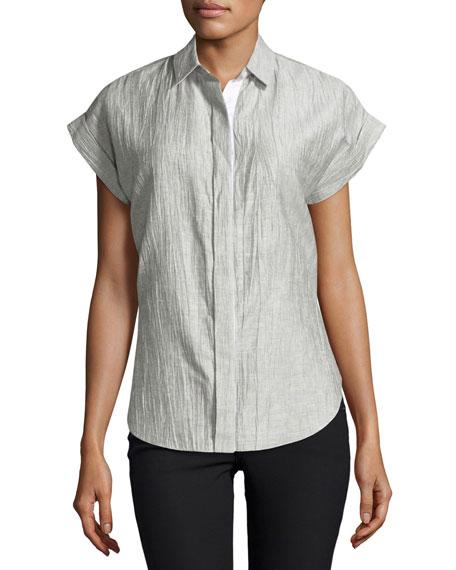 Ara Short-Sleeve Crinkle Tie-Back Blouse, Black/White