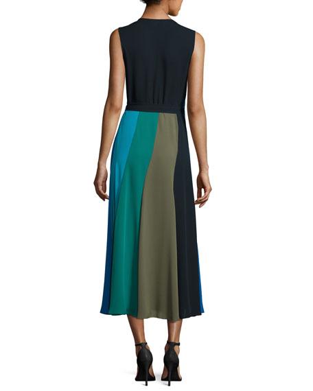Penelope Colorblock Wrap Silk Jersey Maxi Dress