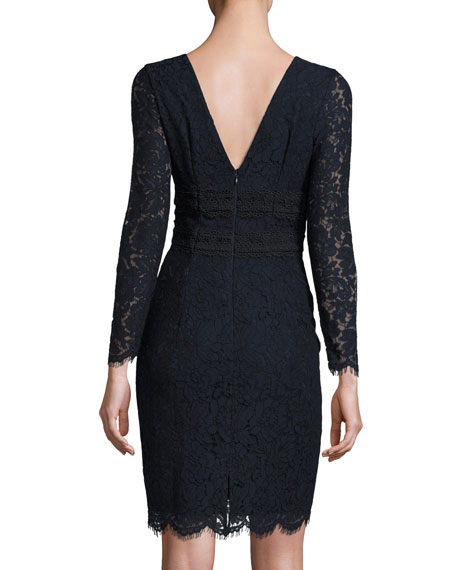 Viera Lace Long-Sleeve V-Neck Cocktail Dress, Deep Night/Black