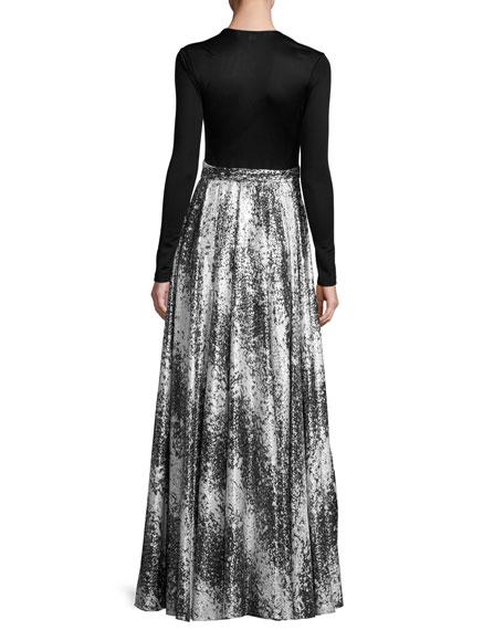 Aviva Metallic Wrap-Front Maxi Dress