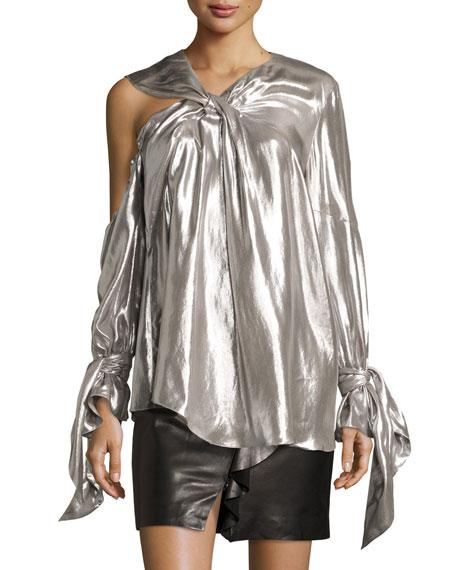 Agata Long-Sleeve Lamé Blouse, Silver