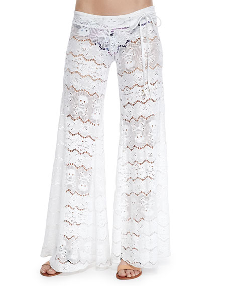Wide-Leg Lace Coverup Pants