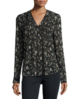 Vintage Bloom Silk Blouse, Black/Multicolor
