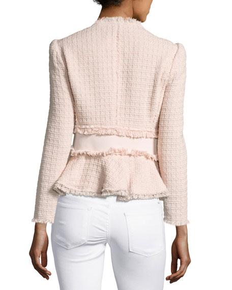 Tweed Fringe-Trim Peplum Jacket, Ballerina Pink