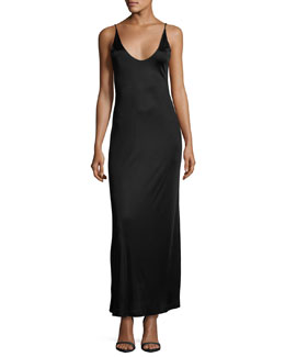 Sleeveless Strappy Satin Maxi Dress, Black