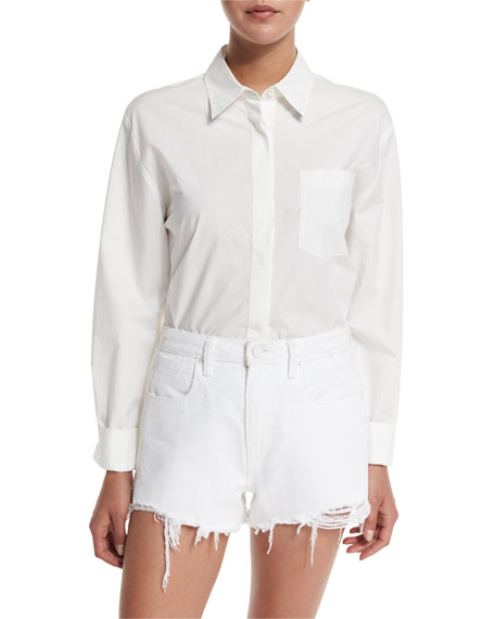 Cotton Poplin Long-Sleeve Shirt Bodysuit, Ivory