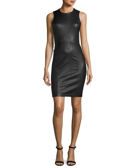 Sleeveless Leather Sheath Dress, Black