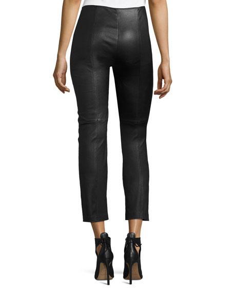 Cropped Napa Leather Leggings, Black