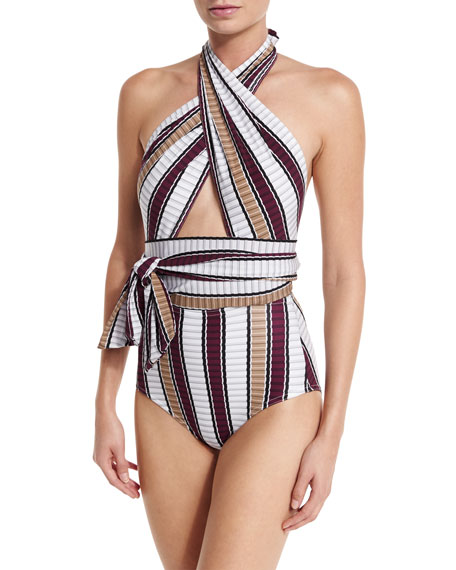 Karla Colletto Palazzo Cross-Halter One-Piece Swimsuit